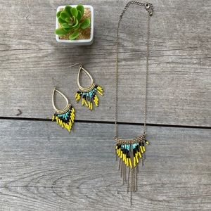 Beaded Boho Necklace & Earrings